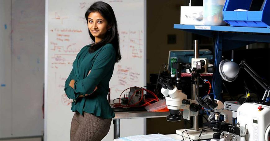 "Shriya Srinivasan of MIT is the $15,000 Lemelson-MIT Student Prize ""Cure it!"" Graduate Winner for her Cutaneous Mechanoneural Interface (CMI), a new type of surgical process for amputee patients that would allow a person to sense what their prosthesis feels."