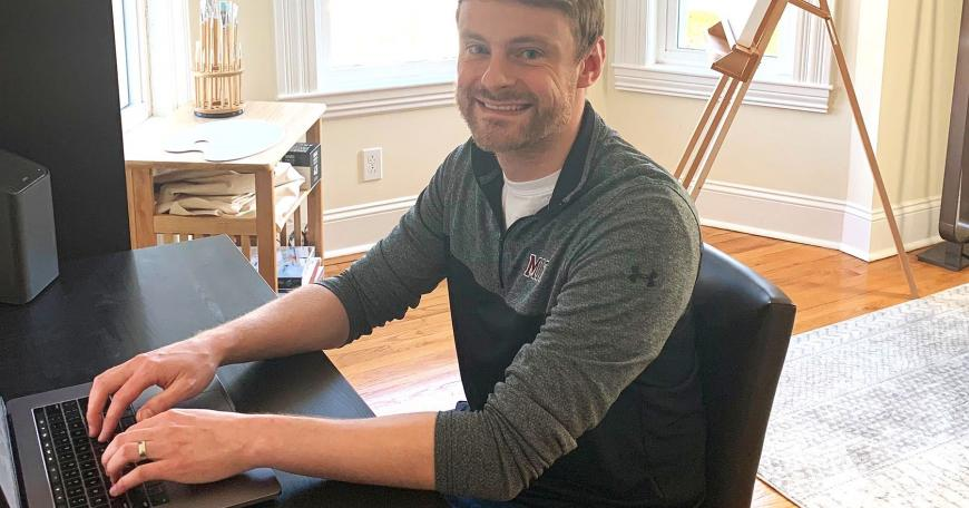 "Kyle Filipe working from home. ""Our mentality is: keep telling us what you need and we'll keep trying to figure out creative solutions. That's what [MIT ISandT] did before Covid-19 and that's what we'll do long after Covid-19."""